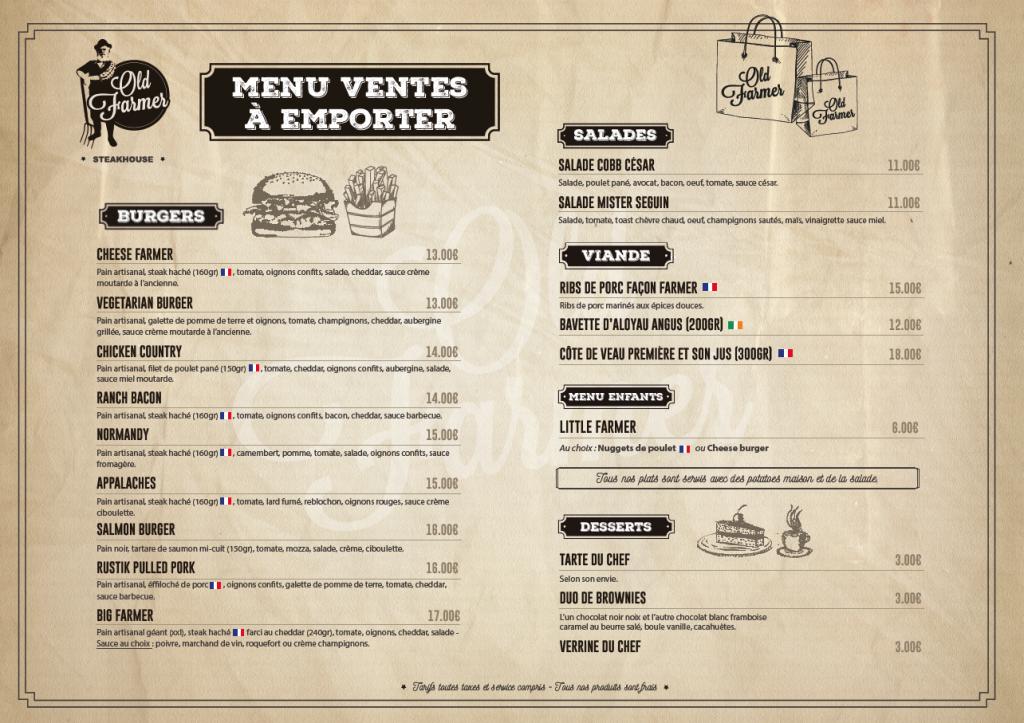 menu vente à emporter